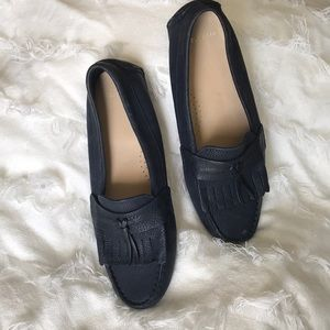 Cole Haan • blue navy leather fray loafers flats